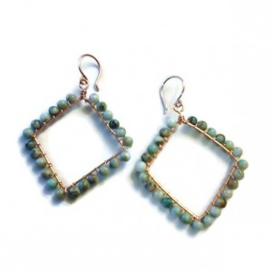 Seafoam Green Diamond Shaped Hoop Earrings