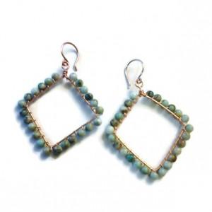 Seafoam Green Diamond Shaped Hoop Earrings