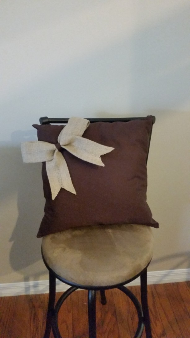 Burlap Bow Decorative Pillow