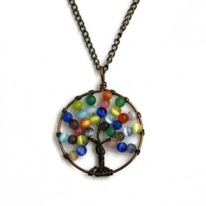 Cats Eye Tree of Life Pendant Necklace