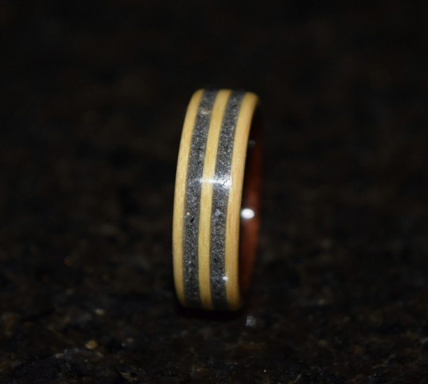 Ready to ship size 8.75 (Bentwood Method) Macassar Ebony wrapped in Beech with  Double Inlay Fools Gold Wooden Ring