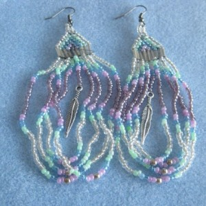 "Native American style dangle earrings. 4.5""long in a draped loop and feather"
