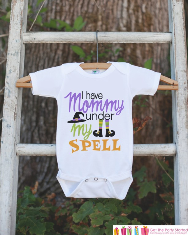 Girls Halloween Outfit - I Have Mommy Under My Spell - Funny Witch Tshirt or Onepiece - Baby Girl Halloween Outfit - Baby Halloween Costume