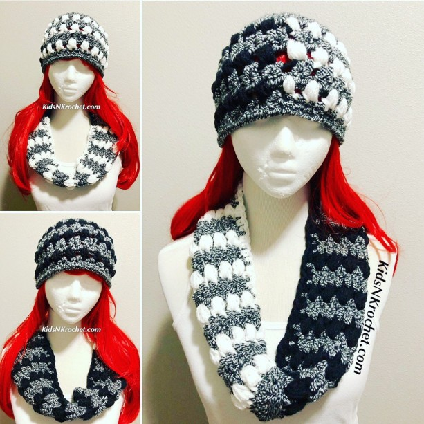 3 in 1 set, winter hat and infinty scarf