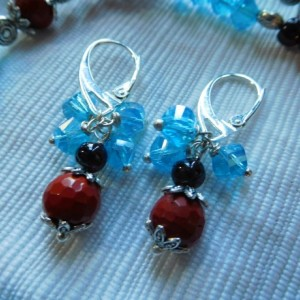 Garnet/Red Jasper/ blue crystals Necklace with Sterling Silver Overlay Topaz, Garnet, Red Jasper pendant and matching earrings set.#NBES0105