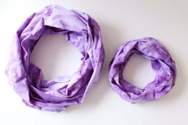 Mommy & Me Infinity Scarf Set in Marbled Purple - Hand Dyed Cotton - Ready to Ship