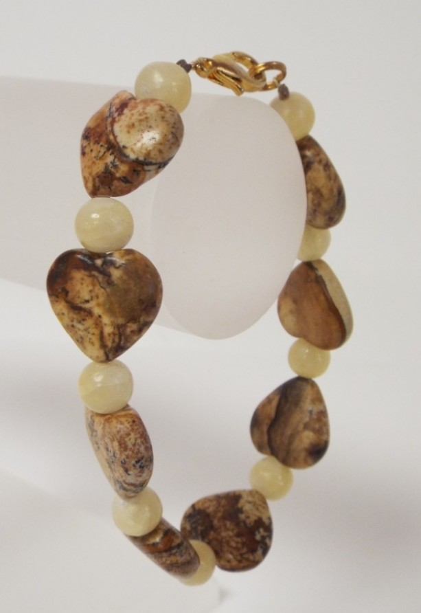 Picture Stone Heart and Yellow Jade Bracelet