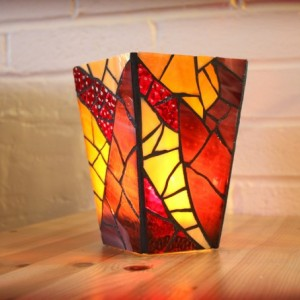 Purple Stained Glass Vase/Candleholder, Mosaic Candle Holder, Purple Mosaic Vase