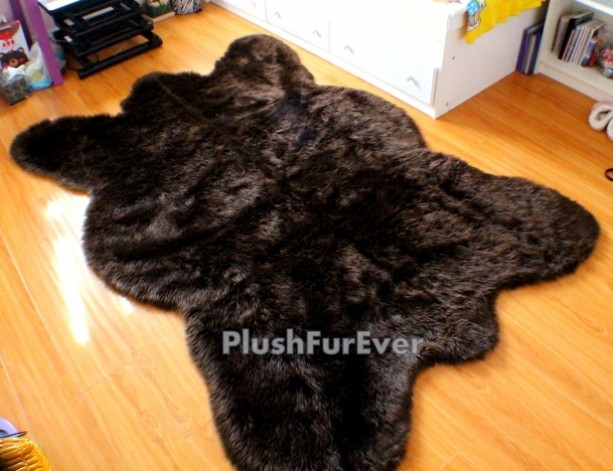 5u0027 x 7u0027 big brown bear faux fur rug chocolate bearskin rug plush thick - Bearskin Rug