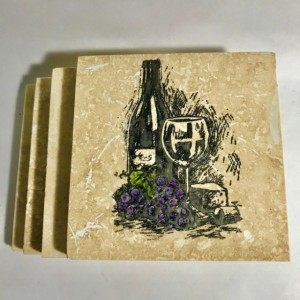 Custom Coasters-Non Stick Coasters-Wine Bottle/Glass/Grapes Coasters-Travertine Tile Coasters-Drink/Barware-Housewarming-Drinkware-Gift Idea