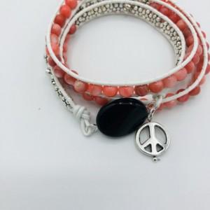 Black Onyx and Coral Wrap Bracelet