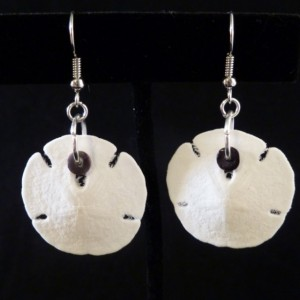 Small Sand Dollar with Heshi Shell Bead Earrings