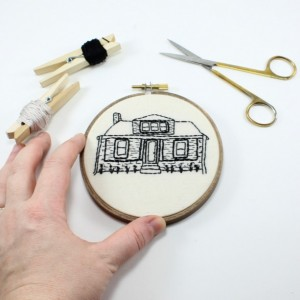 "6"" Custom Embroidery House Portrait"