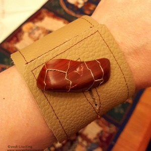 Buff Tan Leather Cuff, Red Jasper Agate-Brass Wire Wrap-Upcycled Leather-Med Unisex fits wrists 6.5, 7 in