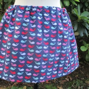 Handmade Whale Print Mini Skirt Drawstring Seafoam Ribbon Preppy Whale Skirt