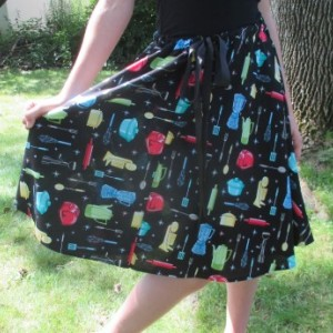 Handmade Retro 1950's A-line Drawstring Skirt Kitchen Pattern Skirt OOAK Skirt