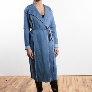 Women's denim fray fall coat