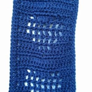 Neckwarmer Scarf Crocheted Heart Cutouts Navy Blue