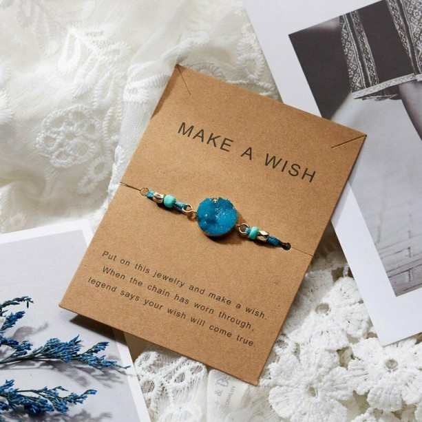 Make a Wish, Wish Bracelet, Turquoise Charm Bracelet, Lucky Turquoise String Bracelet ,Stocking Stuffer for Friends