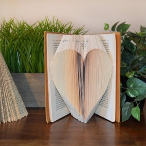 Folded Book - Book Art - Heart - Love - Unique - Original - Vintage Book