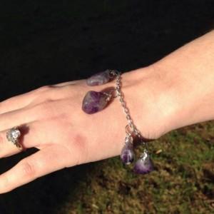 Amethyst Charm Bracelet, Pagan Inspired, Healing Stone Jewelry, Purple Gemstone Bracelets, OOAK