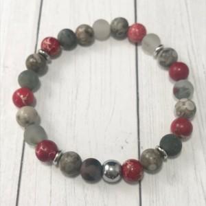 The Ryder | handmade beaded stretch bracelet, red jasper, African bloodstone, fossil crinoid, stainless steel, men's / unisex, Gifts for Him