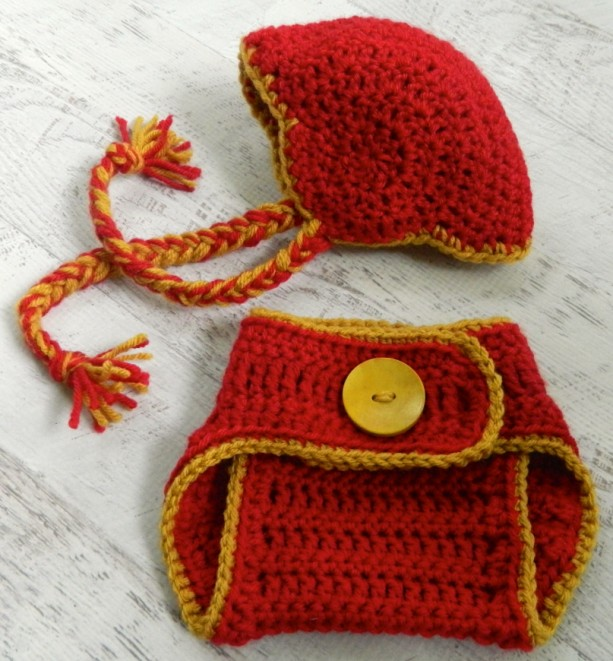Crocheted Football Helmet And Diaper Cover You Specify Team And