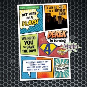 Comic Book Superhero Birthday Invitation