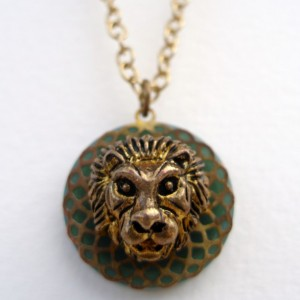 Little Brass Lion Button Necklace
