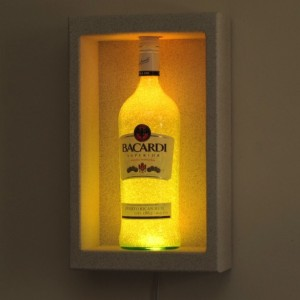 Bacardi Rum Shadowbox Wall Mount or Tabletop Color Changing Bottle Lamp Bar Light  LED Remote Controlled Eco Friendly
