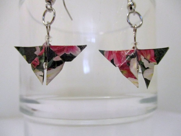 upcycled butterfly origami earrings - floral print - recycled - repurposed - green - eco friendly - upcycled paper - OOAK