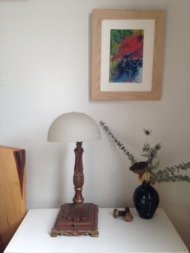 Original  Abstract Watercolor Painting with Pen and Ink drawing of aloe and tulips in a solid maple wood frame
