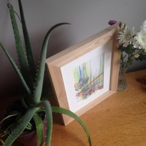 Original Abstract Watercolor Green and red lines with flower line drawing of violets in handmade solid wood maple frame