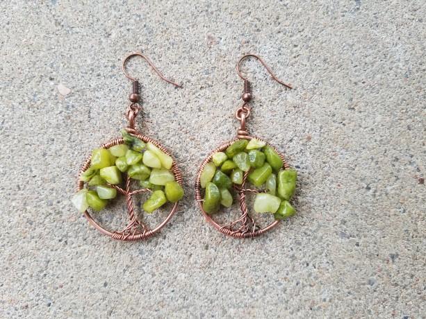 Tree of life earrings in green