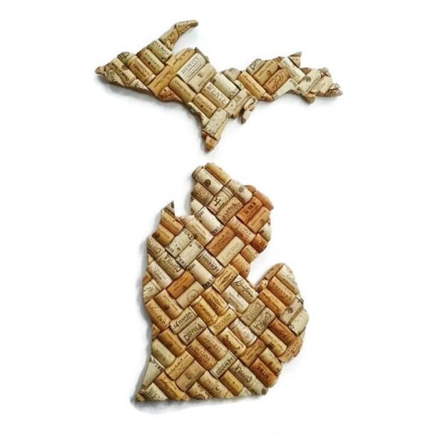 Wine Cork Art: Michigan Wine Cork Decor
