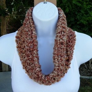 SUMMER COWL SCARF Rust Burnt Orange Beige Tan Small Short Infinity Loop, Crochet Knit Soft Lightweight Neck Warmer..Ready to Ship in 2 Days