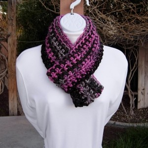 Women's Small INFINITY SCARF Black, Gray, Raspberry Pink Loop Cowl, Soft Short Skinny Petite Winter Crochet Knit, Ready to Ship in 3 Days