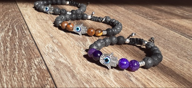 Natural Lava Rock & Gemstone Chakra Bracelet   Adjustable Chakra Bracelet With Hamsa Hand and Evil Eye    Calming - Protection - Stability