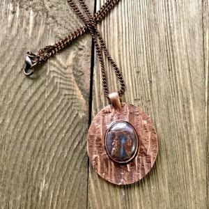 Cold Mountain Jasper and Copper Metal Clay Pendant