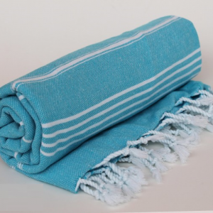 Turkish Turkish Peshtemal Towel Beach Towel Gym Towel Hammam Towel 100% cotton Blue