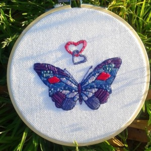 Butterfly Hand Embroidery Hoop- Wall Art (5 inch) *Only One Available!*