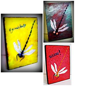 Dragonflies designed on wood