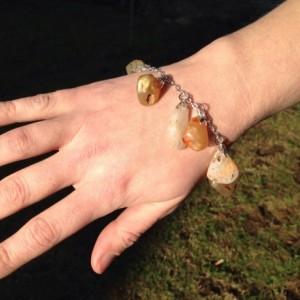 Beach Agate Charm Bracelet, Naturalist Gemstone Bracelet