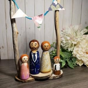 Custom Wedding Cake Toppers:  rustic bride and groom,  Custom,  personalized, peg doll vintage barn boho, LGBTQ+ wedding