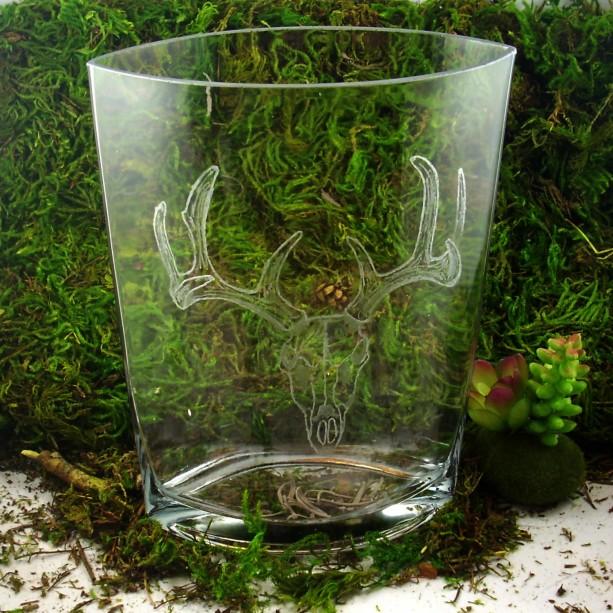 Hand Engraved Deer Skull Vase