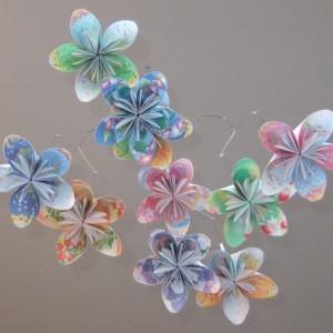 Floral Fantasy Origami Flower Mobile, Nursery Mobile, Flower Baby Mobile, Baby Mobile, Orgmai Mobile, Floral Mobile, Crib Mobile