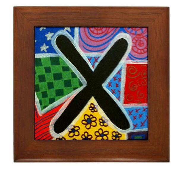 """Folk Art - Letter """"X"""" - FRAMED TILE By Artist A.V.Aposte"""