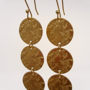 Textured Brass Disc Earrings