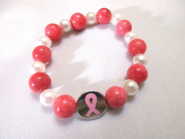 Bracelet Cancer Awareness Charm Dark Pink and Pearl Stretch Bracelet