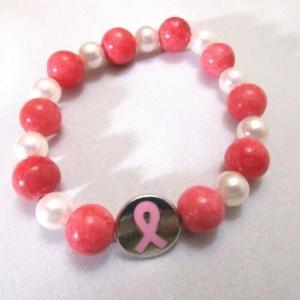 Bracelet Cancer Awareness Charm Dark Pink and Pearl Stretch Bracelet